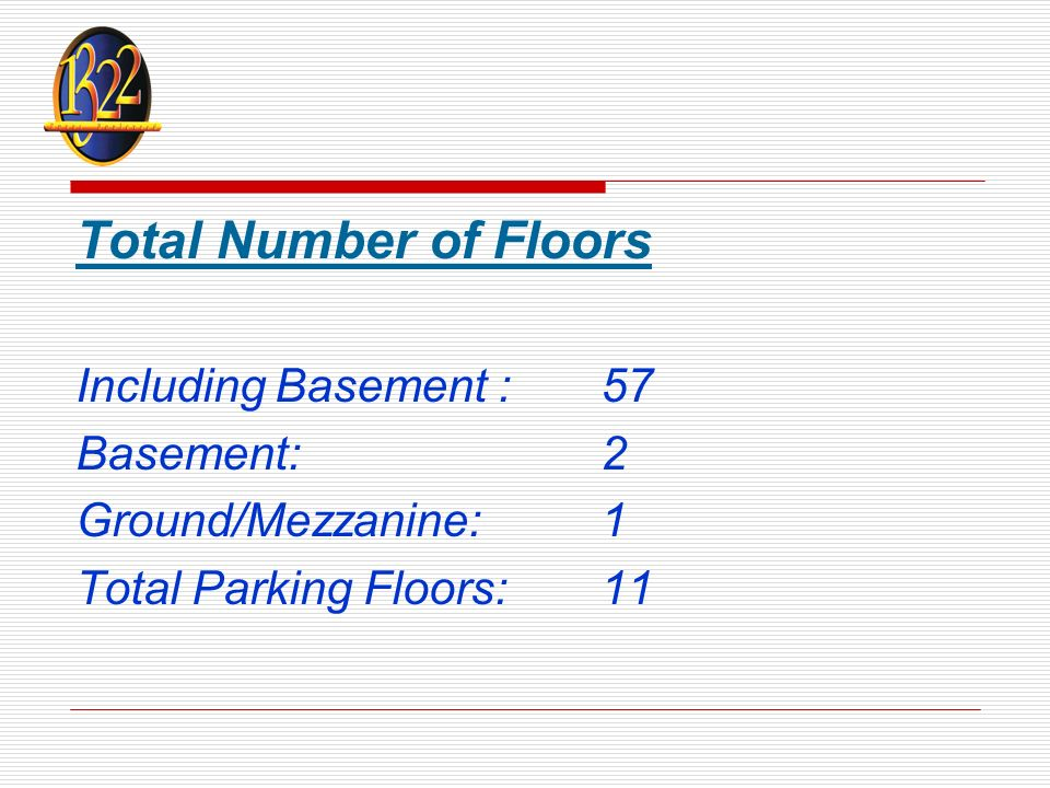 Total Number of Floors Including Basement : 57 Basement:2 Ground/Mezzanine:1 Total Parking Floors:11
