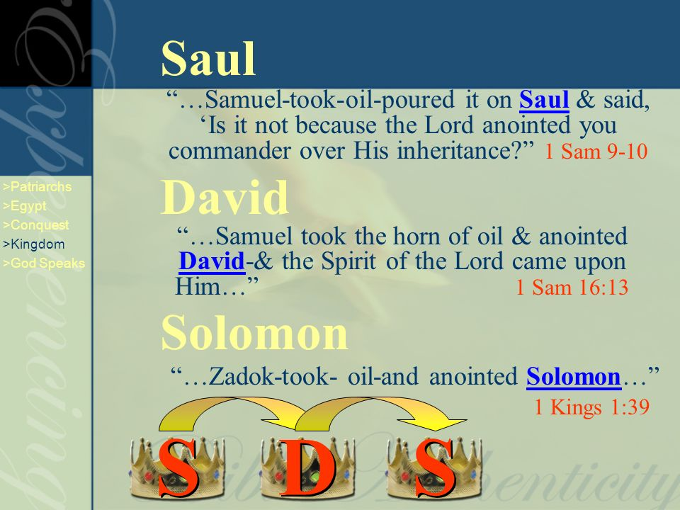Saul …Samuel-took-oil-poured it on Saul & said, Is it not because the Lord anointed you commander over His inheritance.