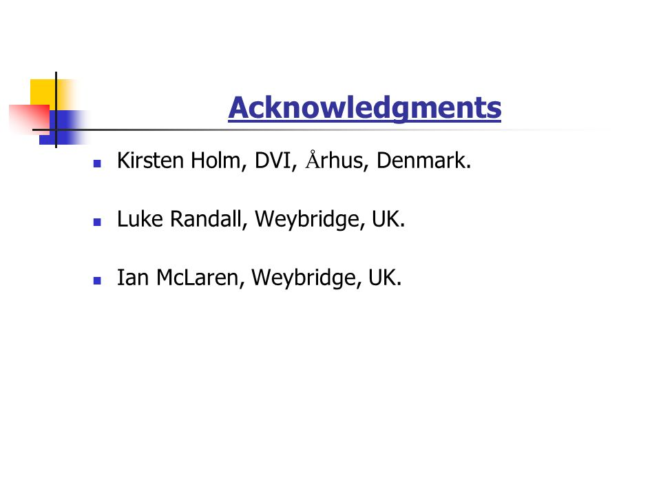 Acknowledgments Kirsten Holm, DVI, Å rhus, Denmark.