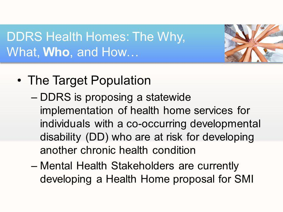 The Target Population –DDRS is proposing a statewide implementation of health home services for individuals with a co-occurring developmental disability (DD) who are at risk for developing another chronic health condition –Mental Health Stakeholders are currently developing a Health Home proposal for SMI DDRS Health Homes: The Why, What, Who, and How…