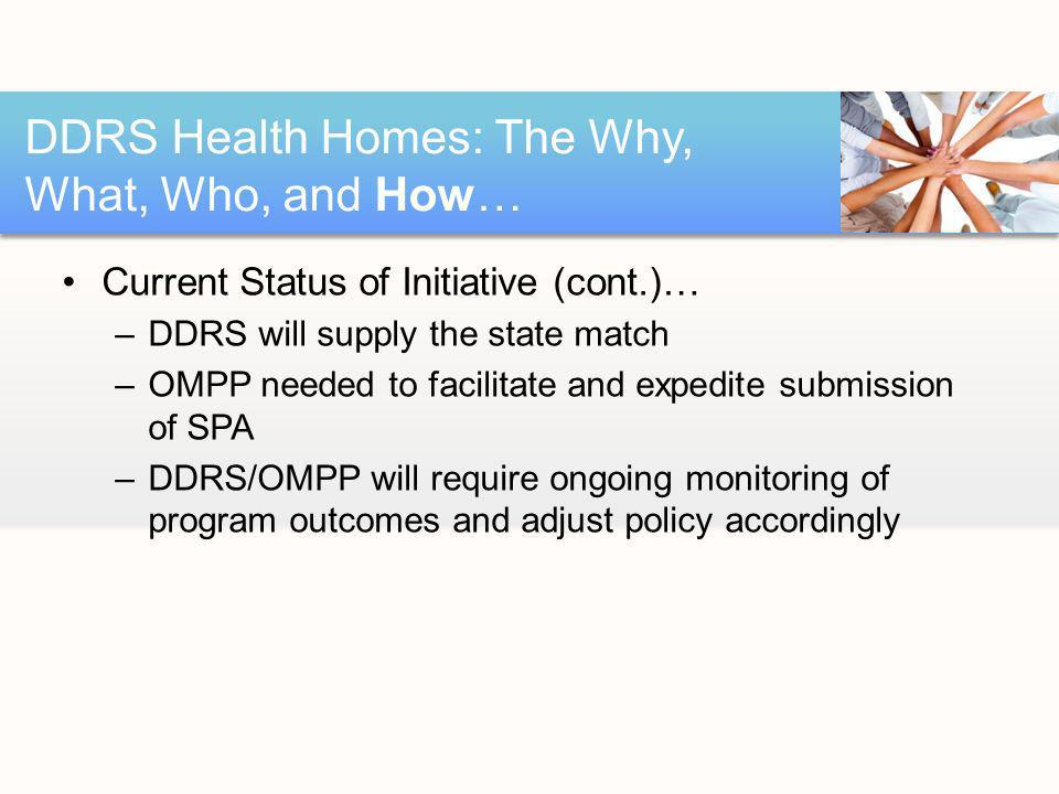 Current Status of Initiative (cont.)… –DDRS will supply the state match –OMPP needed to facilitate and expedite submission of SPA –DDRS/OMPP will require ongoing monitoring of program outcomes and adjust policy accordingly DDRS Health Homes: The Why, What, Who, and How…