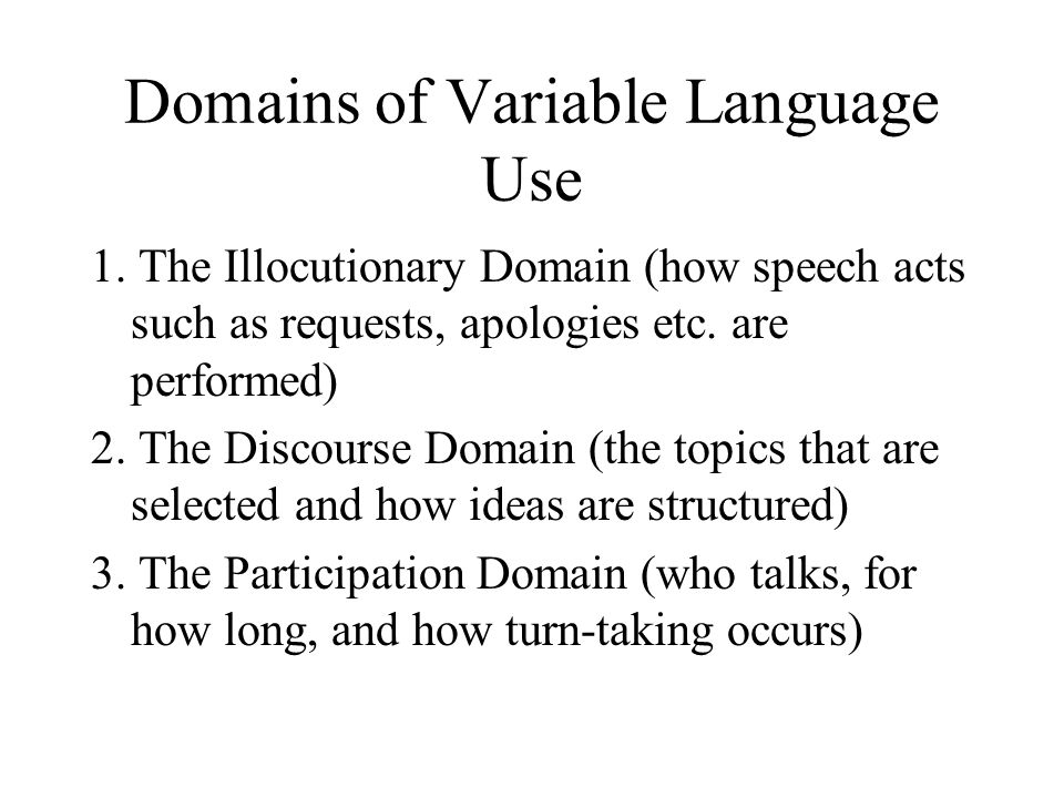 Domains of Variable Language Use 1.