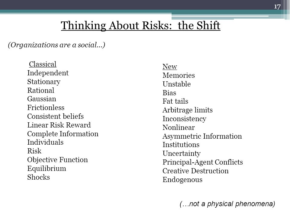 Thinking About Risks: the Shift (Organizati0ns are a social…) Classical Independent Stationary Rational Gaussian Frictionless Consistent beliefs Linear Risk Reward Complete Information Individuals Risk Objective Function Equilibrium Shocks New Memories Unstable Bias Fat tails Arbitrage limits Inconsistency Nonlinear Asymmetric Information Institutions Uncertainty Principal-Agent Conflicts Creative Destruction Endogenous (…not a physical phenomena) 17