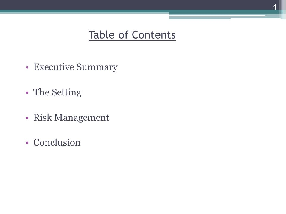 Table of Contents Executive Summary The Setting Risk Management Conclusion 4
