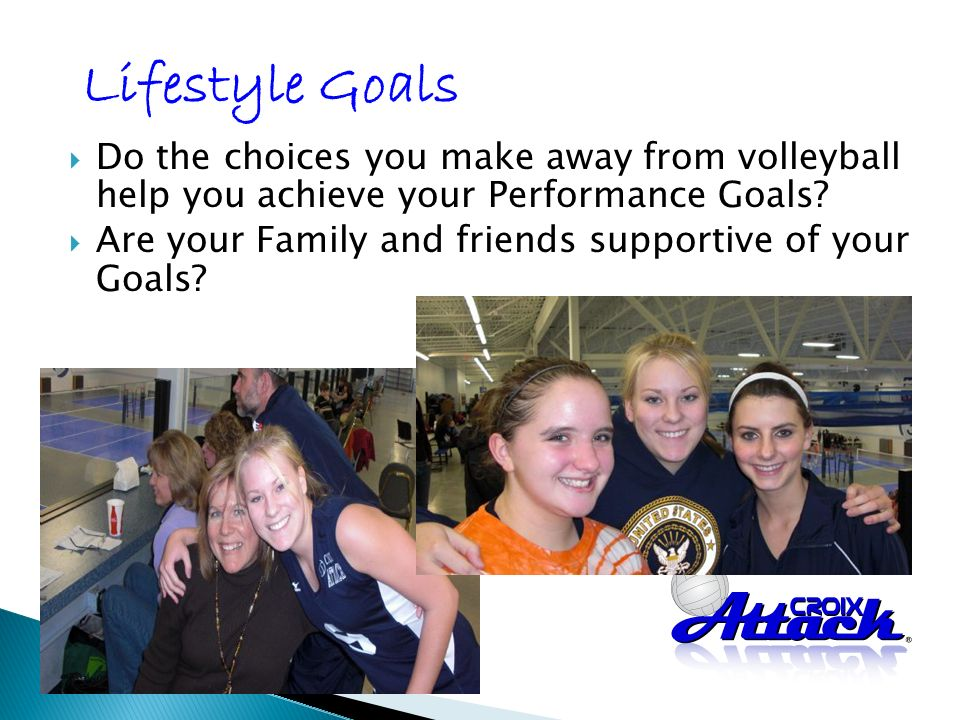 Do the choices you make away from volleyball help you achieve your Performance Goals.