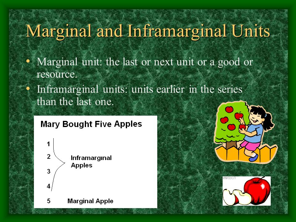 Marginal and Inframarginal Units Marginal unit: the last or next unit or a good or resource.