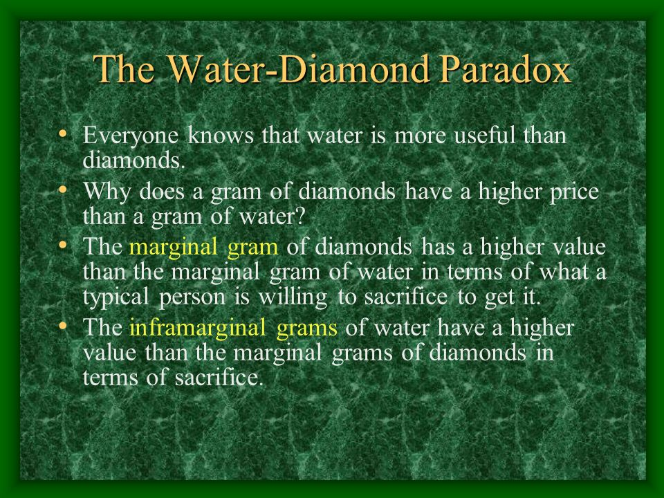 The Water-Diamond Paradox Everyone knows that water is more useful than diamonds.