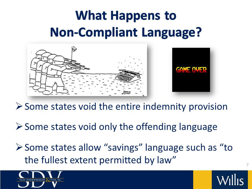 Some states void the entire indemnity provision Some states void only the offending language Some states allow savings language such as to the fullest extent permitted by law 7