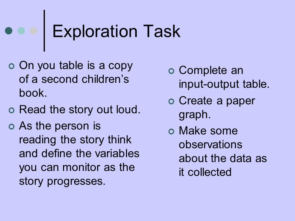 Exploration Task On you table is a copy of a second childrens book.