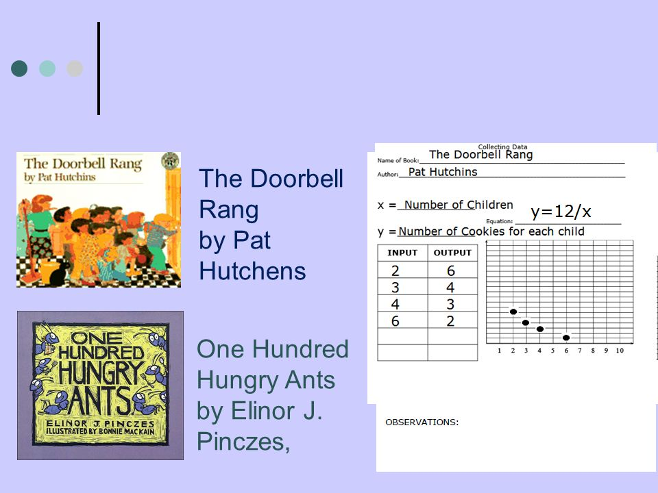 The Doorbell Rang by Pat Hutchens One Hundred Hungry Ants by Elinor J. Pinczes,
