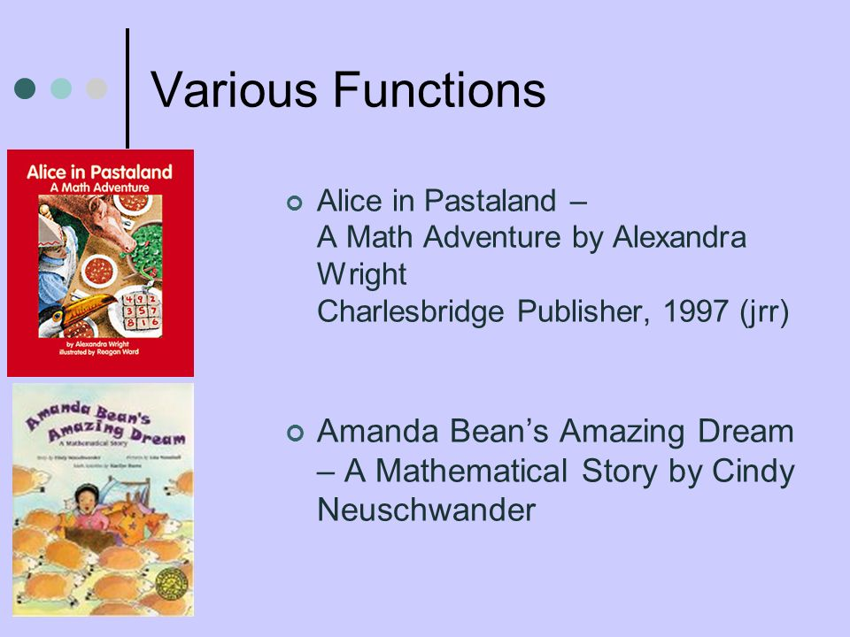 Various Functions Alice in Pastaland – A Math Adventure by Alexandra Wright Charlesbridge Publisher, 1997 (jrr) Amanda Beans Amazing Dream – A Mathematical Story by Cindy Neuschwander