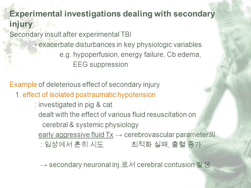 Experimental investigations dealing with secondary injury Secondary insult after experimental TBI - exacerbate disturbances in key physiologic variables e.g.