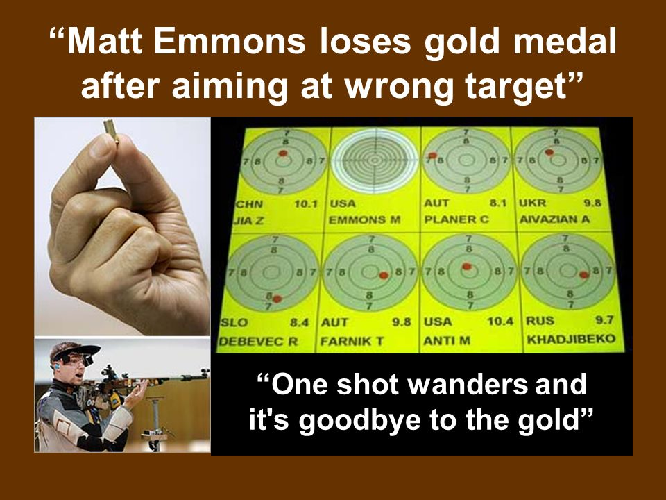 Matt Emmons loses gold medal after aiming at wrong target One shot wanders and it s goodbye to the gold