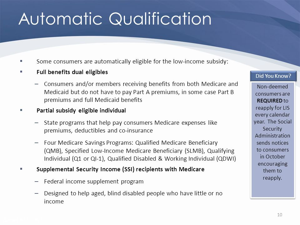 Revised 02/02/2011 Automatic Qualification Some consumers are automatically eligible for the low-income subsidy: Full benefits dual eligibles – Consumers and/or members receiving benefits from both Medicare and Medicaid but do not have to pay Part A premiums, in some case Part B premiums and full Medicaid benefits Partial subsidy eligible individual – State programs that help pay consumers Medicare expenses like premiums, deductibles and co-insurance – Four Medicare Savings Programs: Qualified Medicare Beneficiary (QMB), Specified Low-Income Medicare Beneficiary (SLMB), Qualifying Individual (Q1 or QI-1), Qualified Disabled & Working Individual (QDWI) Supplemental Security Income (SSI) recipients with Medicare – Federal income supplement program – Designed to help aged, blind disabled people who have little or no income 10 Did You Know.