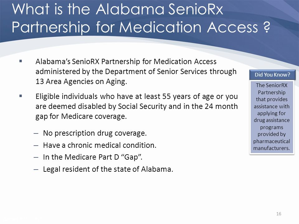 Revised 02/02/2011 What is the Alabama SenioRx Partnership for Medication Access .