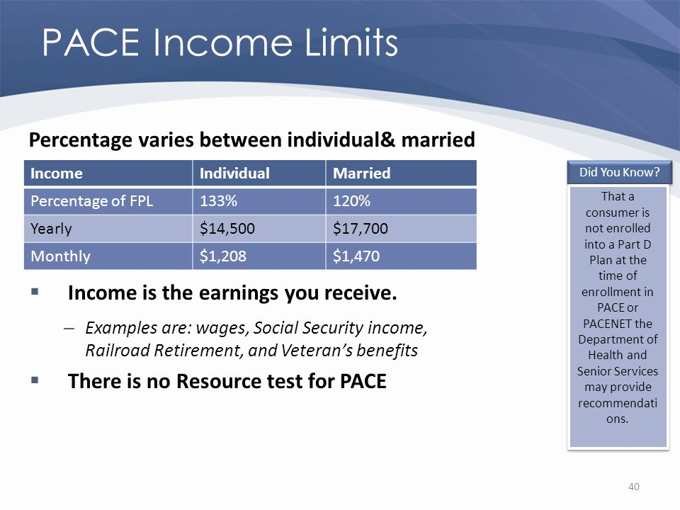 Revised 02/02/2011 PACE Income Limits Income is the earnings you receive.