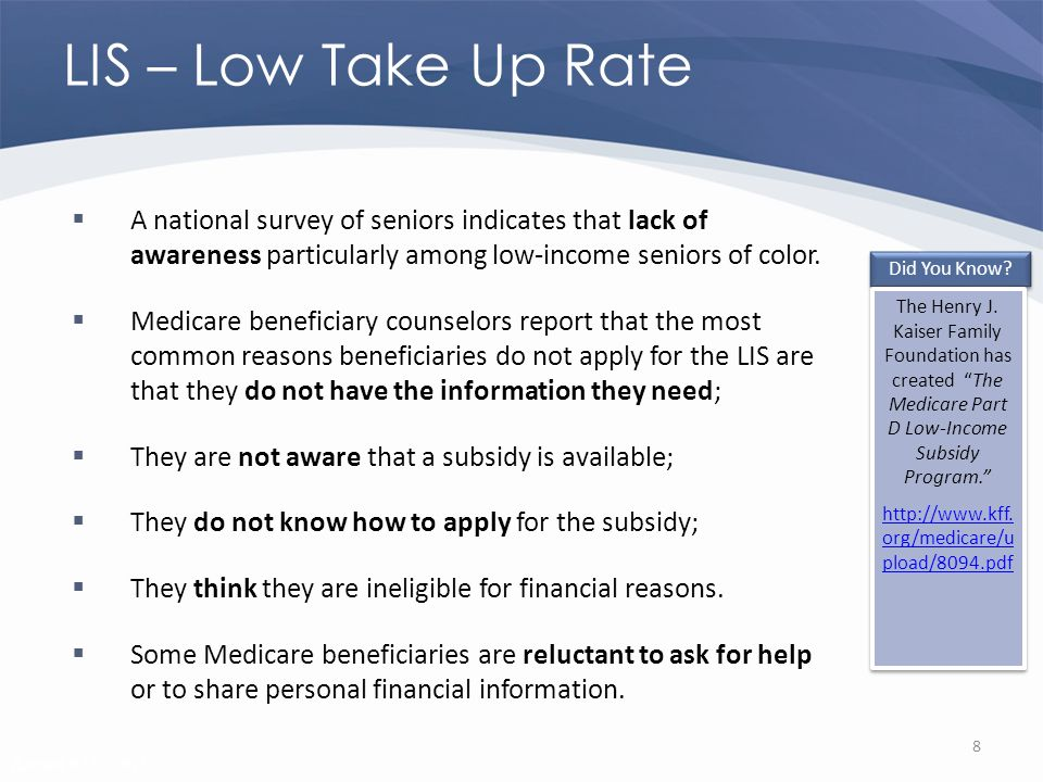 Revised 02/02/2011 LIS – Low Take Up Rate A national survey of seniors indicates that lack of awareness particularly among low-income seniors of color.