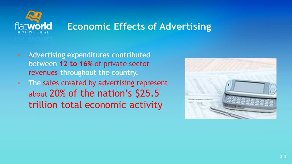 3-3 Economic Effects of Advertising Advertising expenditures contributed between 12 to 16% of private sector revenues throughout the country.