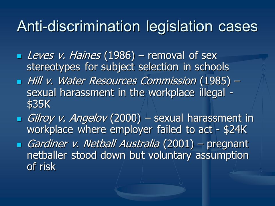 Anti-discrimination legislation cases Leves v.