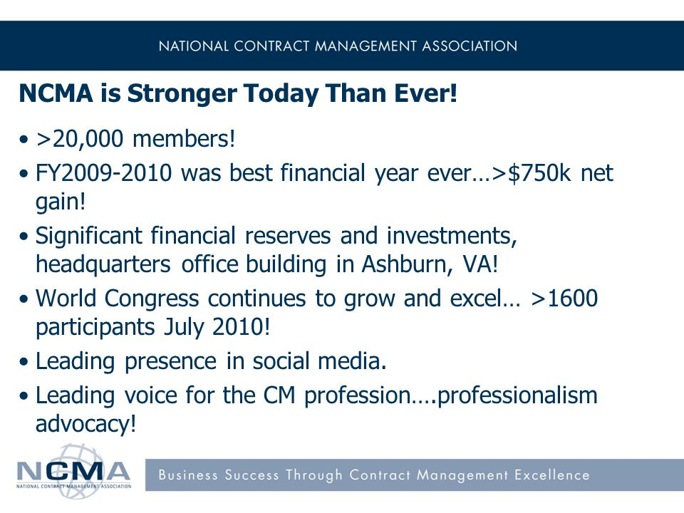 NCMA is Stronger Today Than Ever. >20,000 members.