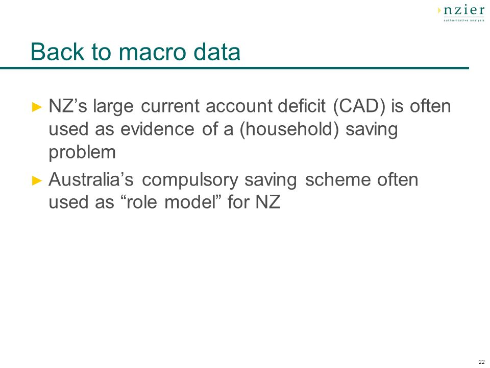 22 Back to macro data NZs large current account deficit (CAD) is often used as evidence of a (household) saving problem Australias compulsory saving scheme often used as role model for NZ