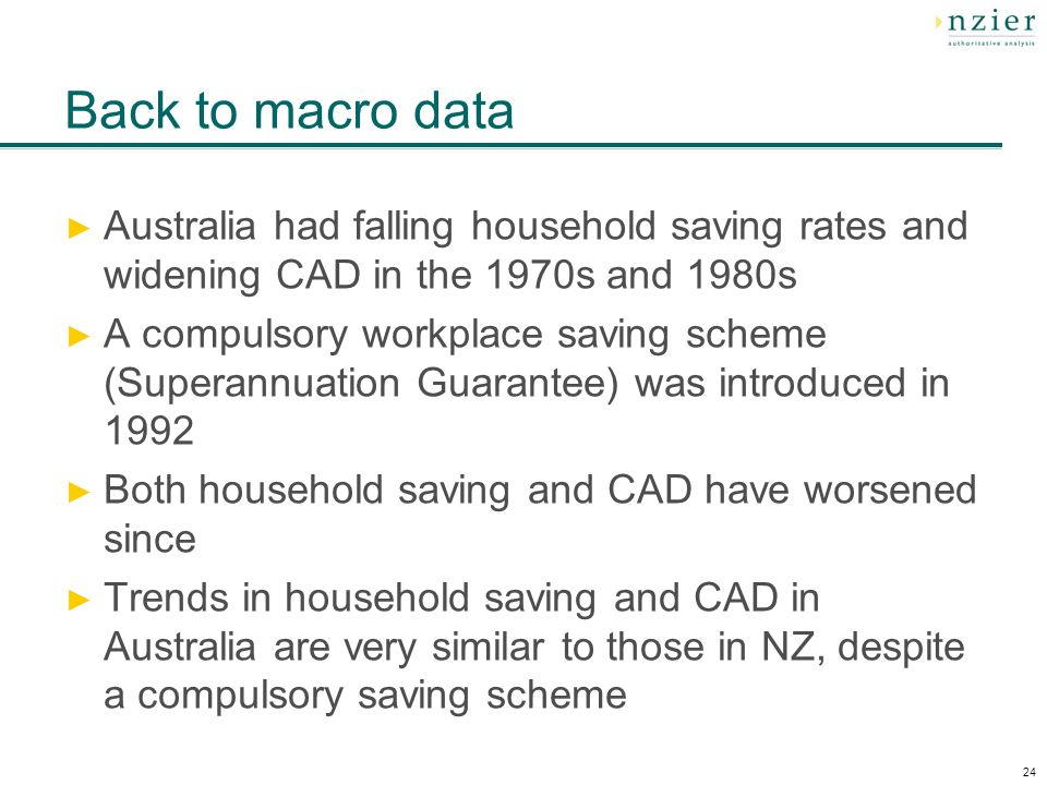 24 Back to macro data Australia had falling household saving rates and widening CAD in the 1970s and 1980s A compulsory workplace saving scheme (Superannuation Guarantee) was introduced in 1992 Both household saving and CAD have worsened since Trends in household saving and CAD in Australia are very similar to those in NZ, despite a compulsory saving scheme