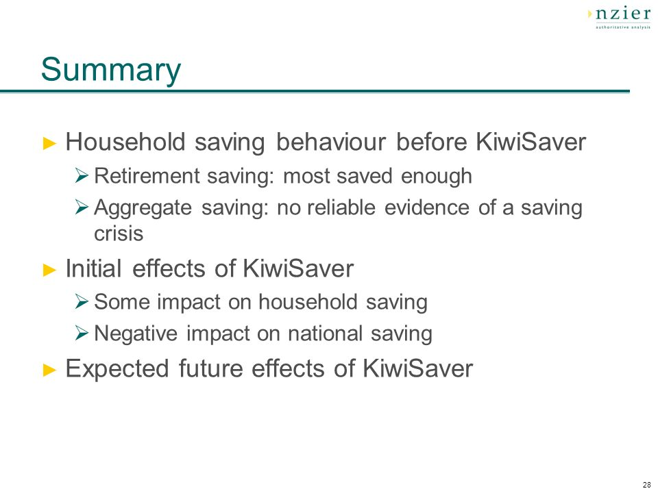28 Summary Household saving behaviour before KiwiSaver Retirement saving: most saved enough Aggregate saving: no reliable evidence of a saving crisis Initial effects of KiwiSaver Some impact on household saving Negative impact on national saving Expected future effects of KiwiSaver
