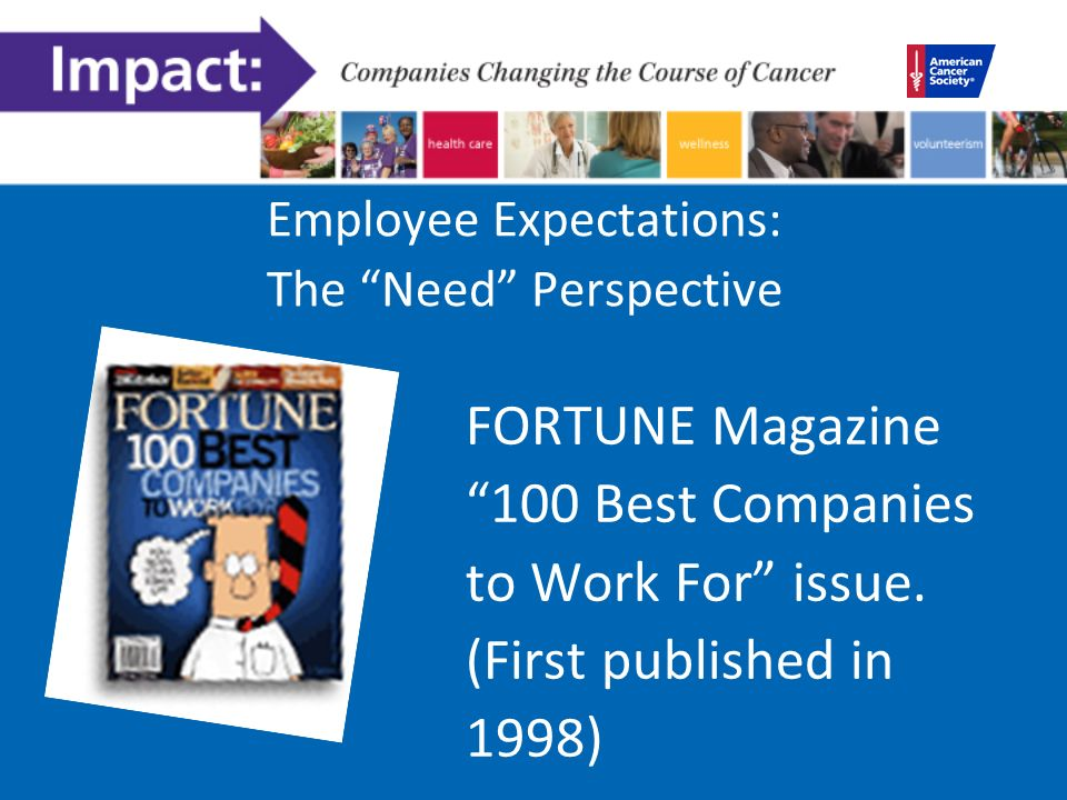 Employee Expectations: The Need Perspective FORTUNE Magazine 100 Best Companies to Work For issue.