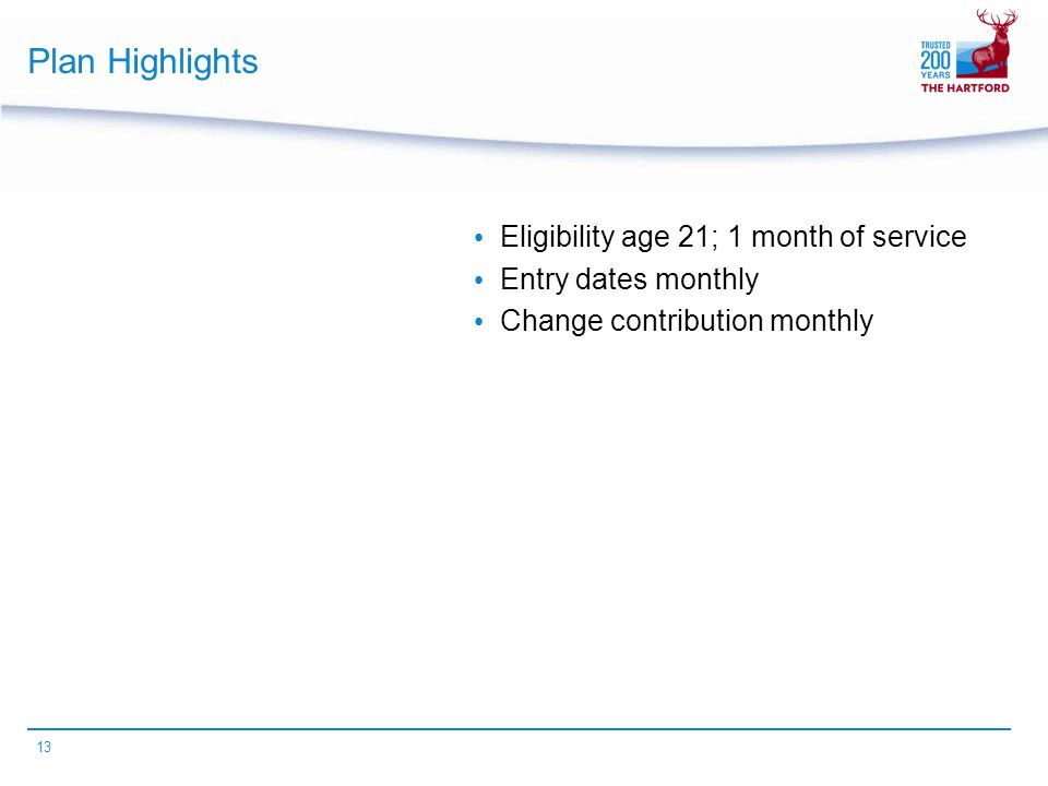 13 Plan Highlights Eligibility age 21; 1 month of service Entry dates monthly Change contribution monthly