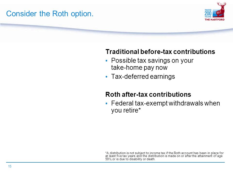15 Consider the Roth option.