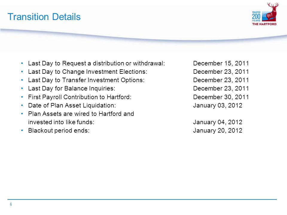 6 Transition Details Last Day to Request a distribution or withdrawal: December 15, 2011 Last Day to Change Investment Elections: December 23, 2011 Last Day to Transfer Investment Options:December 23, 2011 Last Day for Balance Inquiries:December 23, 2011 First Payroll Contribution to Hartford:December 30, 2011 Date of Plan Asset Liquidation:January 03, 2012 Plan Assets are wired to Hartford and invested into like funds:January 04, 2012 Blackout period ends:January 20, 2012