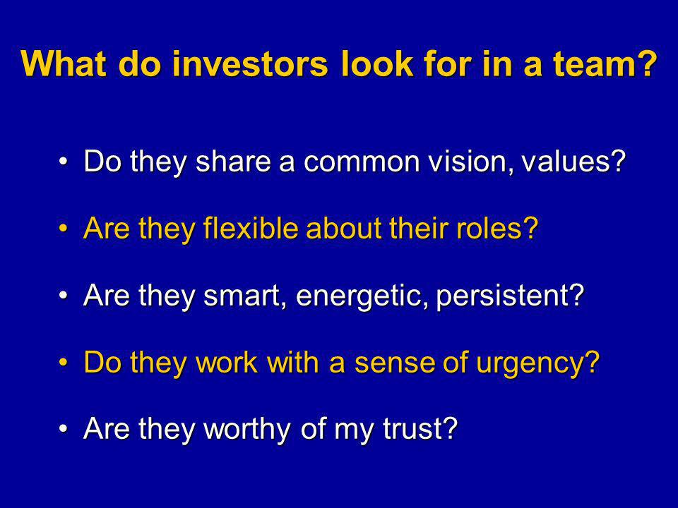 What do investors look for in a team.