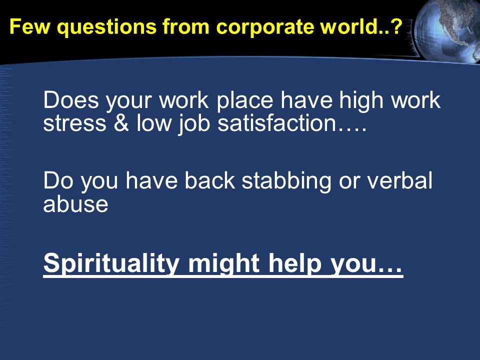 Few questions from corporate world...