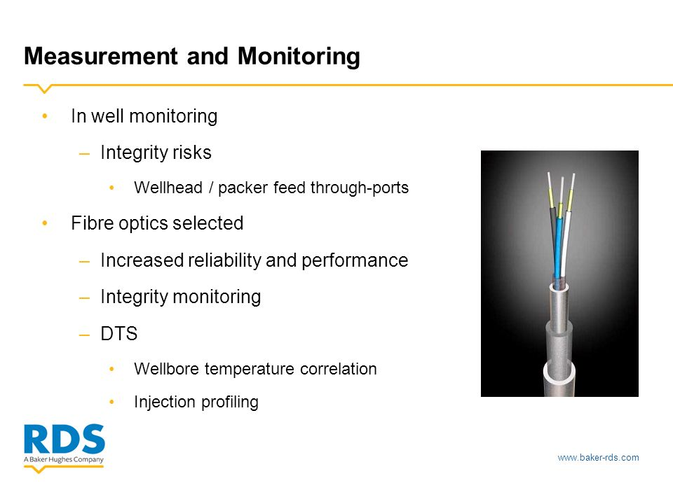 www.baker-rds.com Measurement and Monitoring In well monitoring –Integrity risks Wellhead / packer feed through-ports Fibre optics selected –Increased reliability and performance –Integrity monitoring –DTS Wellbore temperature correlation Injection profiling