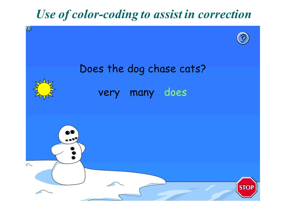 Use of color-coding to assist in correction