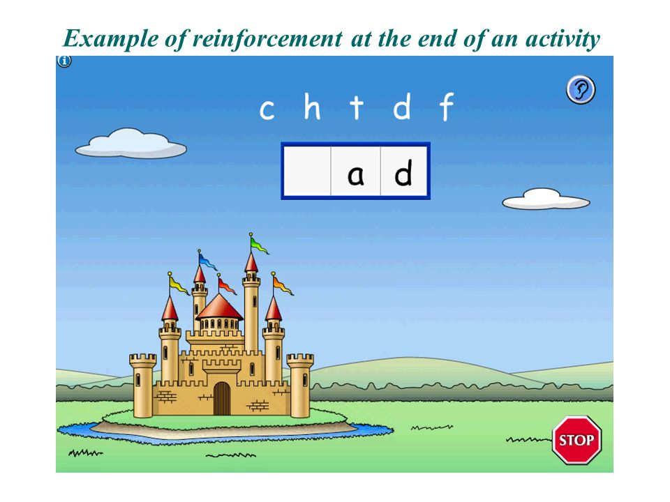 Example of reinforcement at the end of an activity