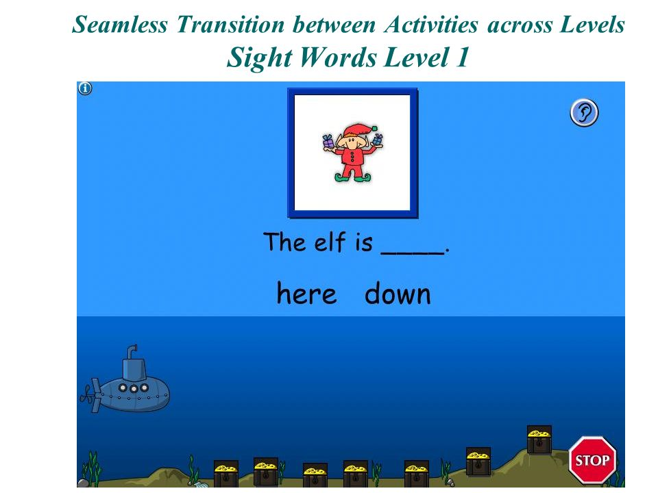 Seamless Transition between Activities across Levels Sight Words Level 1