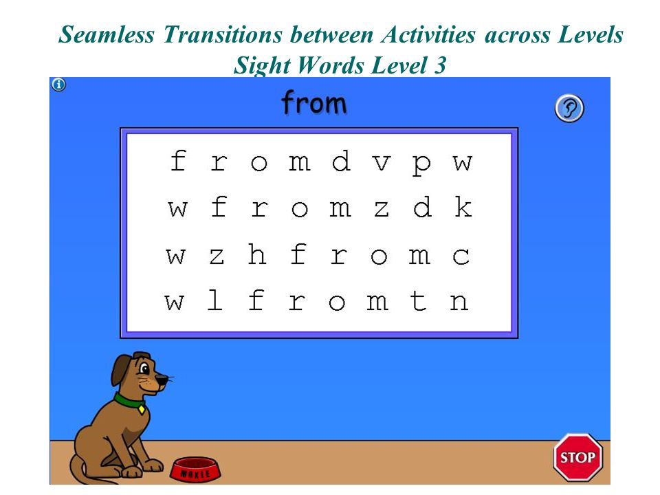 Seamless Transitions between Activities across Levels Sight Words Level 3