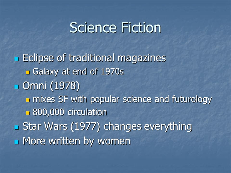 Science Fiction Eclipse of traditional magazines Eclipse of traditional magazines Galaxy at end of 1970s Galaxy at end of 1970s Omni (1978) Omni (1978) mixes SF with popular science and futurology mixes SF with popular science and futurology 800,000 circulation 800,000 circulation Star Wars (1977) changes everything Star Wars (1977) changes everything More written by women More written by women