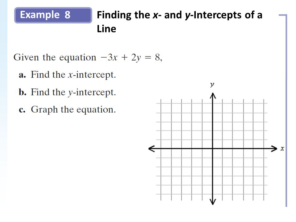 Example 8Finding the x- and y-Intercepts of a Line Slide 17 Copyright (c) The McGraw-Hill Companies, Inc.