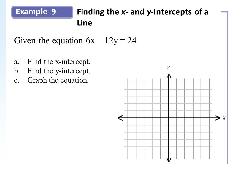 Example 9Finding the x- and y-Intercepts of a Line Slide 18 Copyright (c) The McGraw-Hill Companies, Inc.