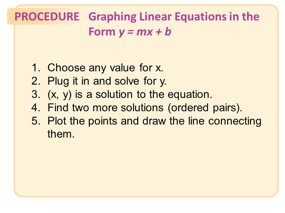 PROCEDUREGraphing Linear Equations in the Form y = mx + b 1.Choose any value for x.