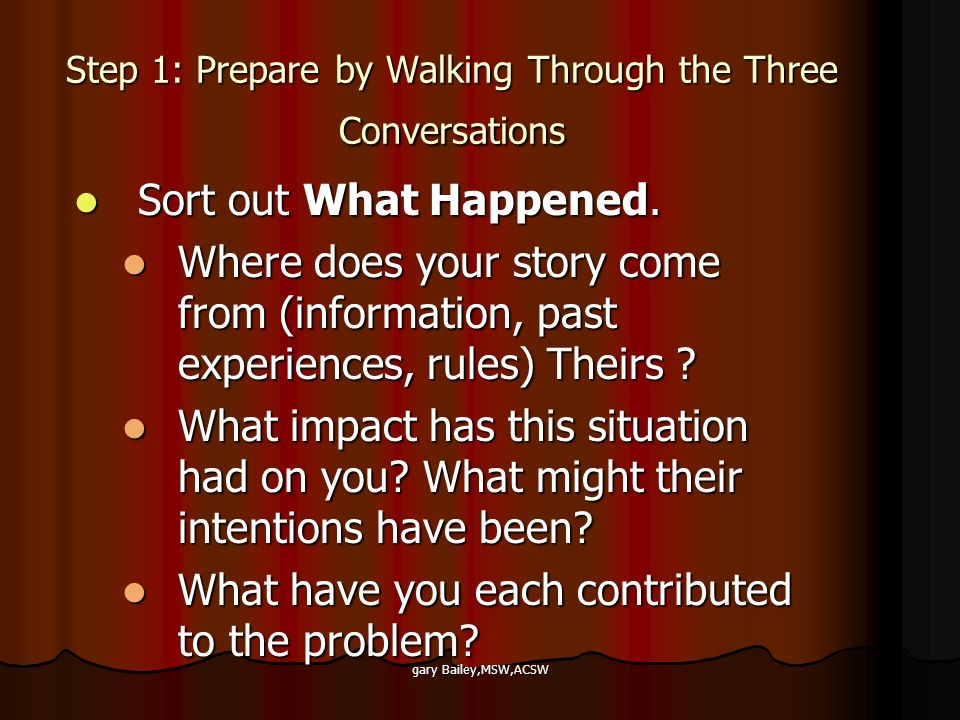 gary Bailey,MSW,ACSW Step 1: Prepare by Walking Through the Three Conversations Sort out What Happened.