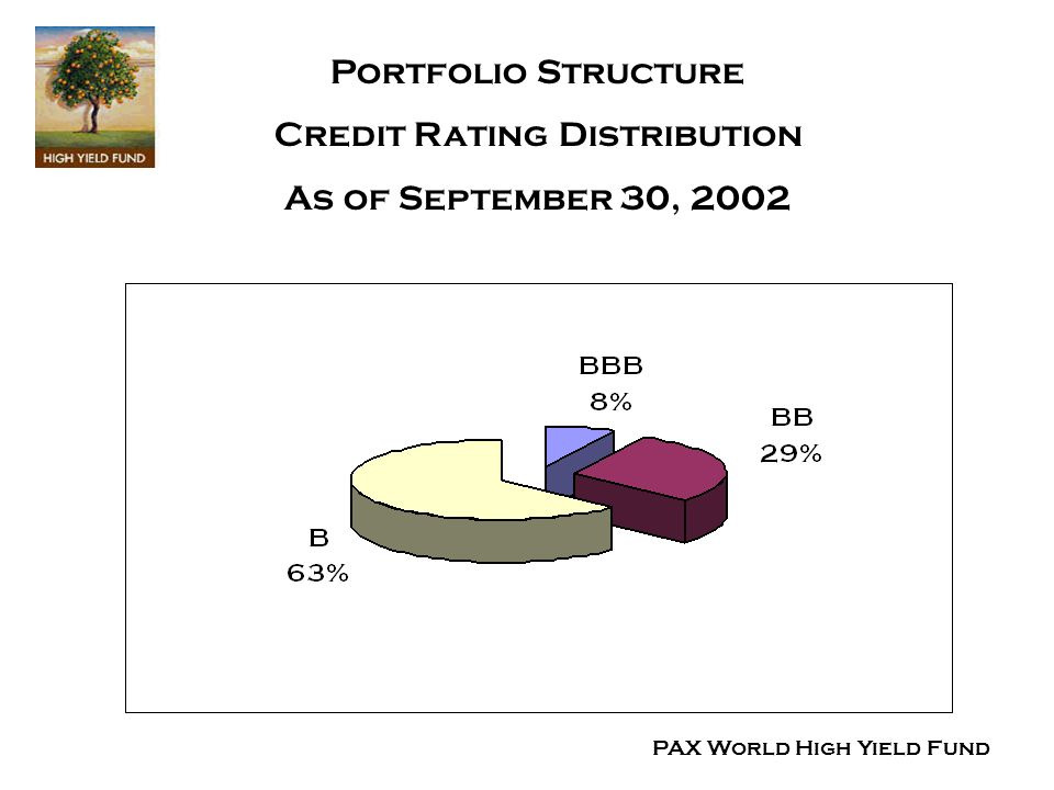 Portfolio Structure Credit Rating Distribution As of September 30, 2002 PAX World High Yield Fund