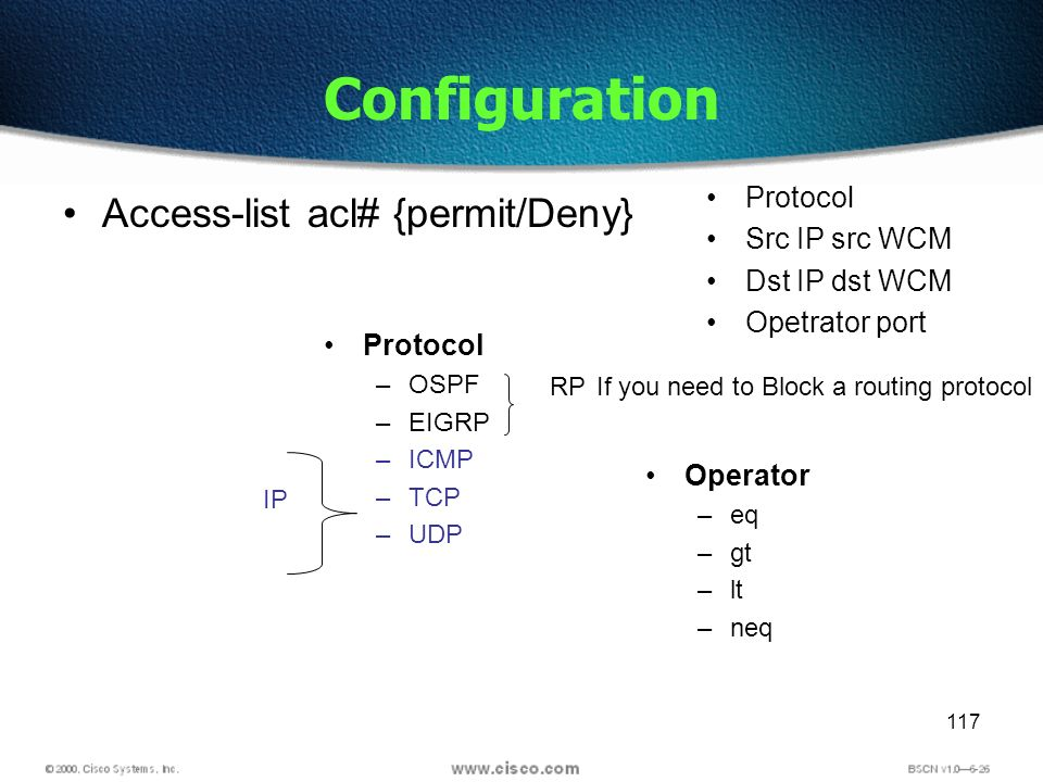 117 Configuration Access-list acl# {permit/Deny} Protocol Src IP src WCM Dst IP dst WCM Opetrator port Protocol –OSPF –EIGRP –ICMP –TCP –UDP RPIf you need to Block a routing protocol IP Operator –eq –gt –lt –neq