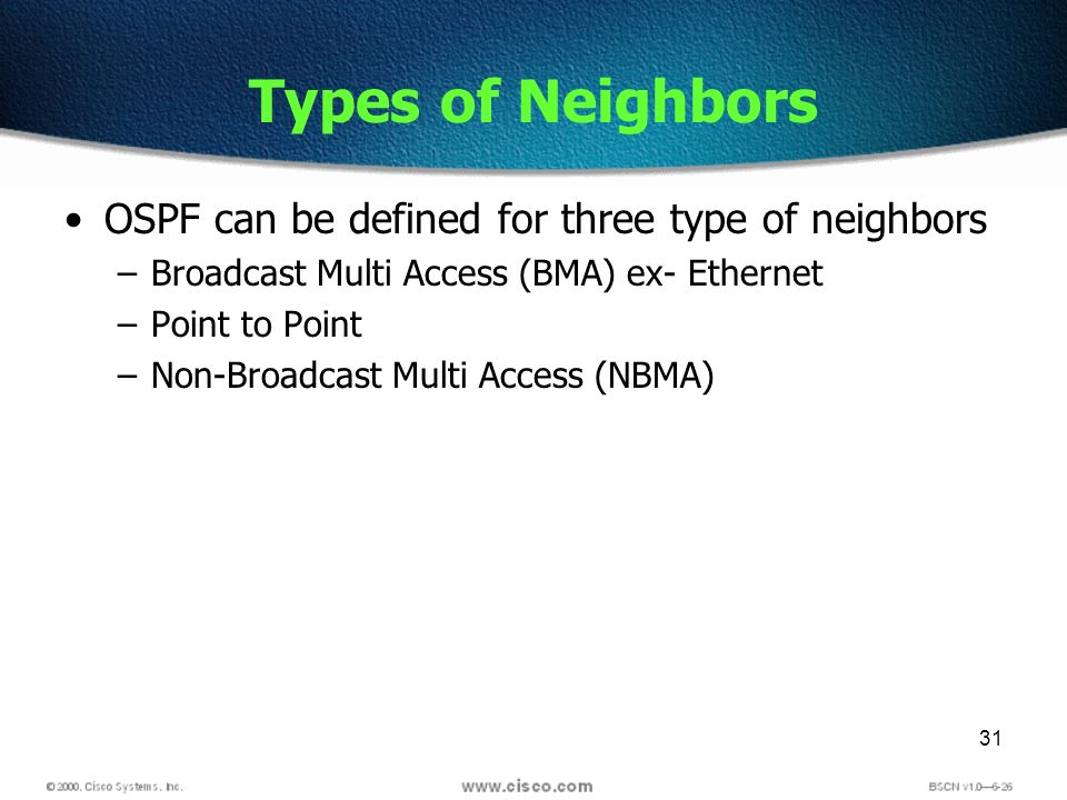31 Types of Neighbors OSPF can be defined for three type of neighbors –Broadcast Multi Access (BMA) ex- Ethernet –Point to Point –Non-Broadcast Multi Access (NBMA)