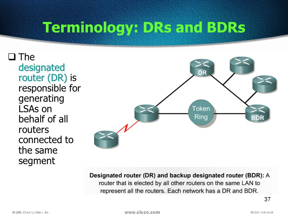 37 Terminology: DRs and BDRs designated router (DR) The designated router (DR) is responsible for generating LSAs on behalf of all routers connected to the same segment