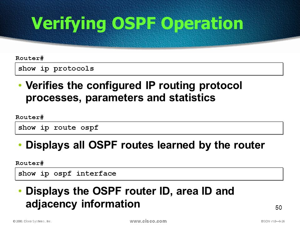 50 show ip protocols Router# Verifies the configured IP routing protocol processes, parameters and statistics Verifying OSPF Operation show ip route ospf Router# Displays all OSPF routes learned by the router show ip ospf interface Router# Displays the OSPF router ID, area ID and adjacency information