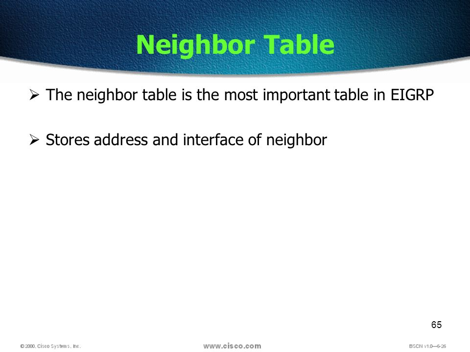65 Neighbor Table The neighbor table is the most important table in EIGRP Stores address and interface of neighbor
