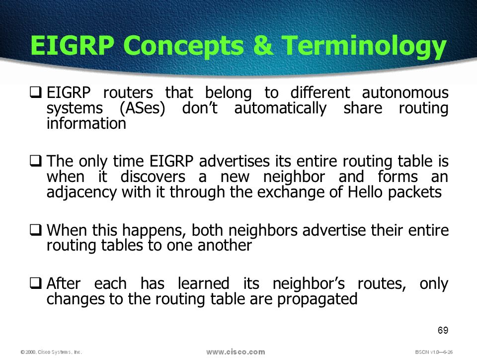 69 EIGRP Concepts & Terminology EIGRP routers that belong to different autonomous systems (ASes) dont automatically share routing information The only time EIGRP advertises its entire routing table is when it discovers a new neighbor and forms an adjacency with it through the exchange of Hello packets When this happens, both neighbors advertise their entire routing tables to one another After each has learned its neighbors routes, only changes to the routing table are propagated